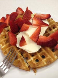 Waffles, ice cream, and strawberries
